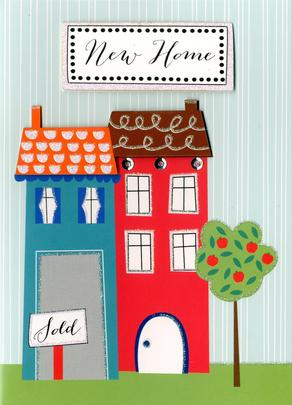 Colourful Houses New Home Greeting Card