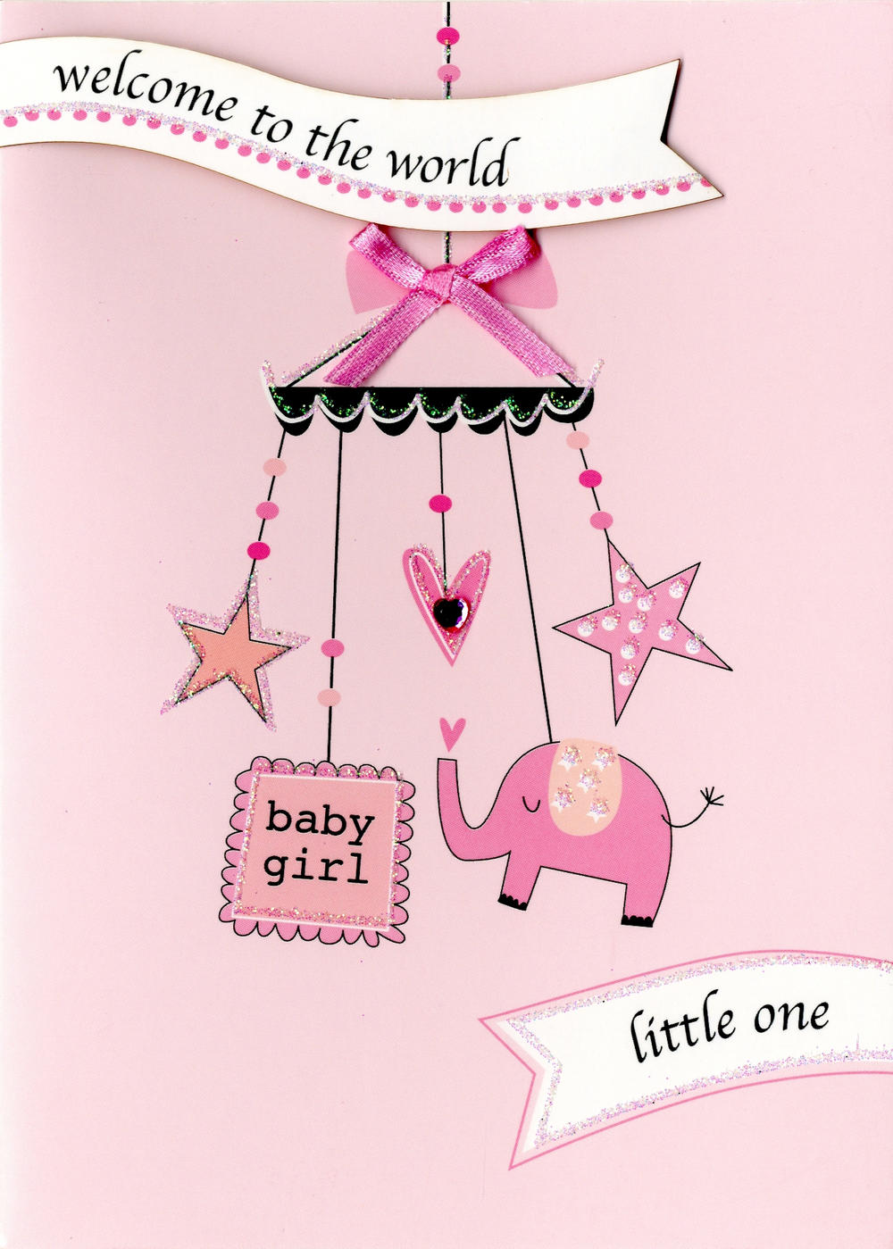 welcome baby girl new baby greeting card  cards