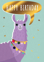 Googly Eyes Llama Birthday Greeting Card
