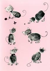 Playful Cats Any Occasion Greeting Card