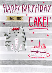 Time For Cake Happy Birthday Greeting Card