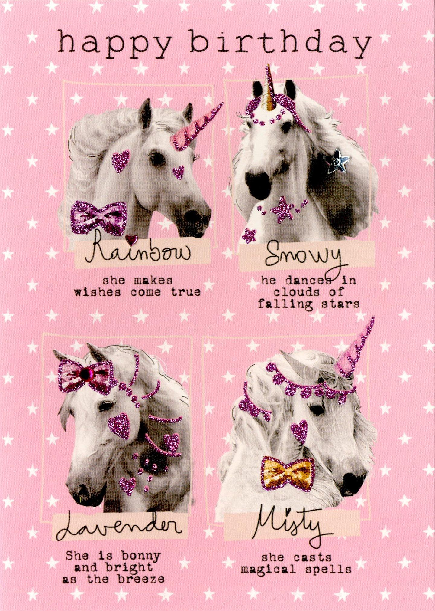 birthday unicorns happy birthday greeting card  cards