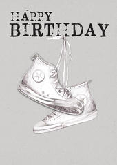 Converse Boots Happy Birthday Greeting Card