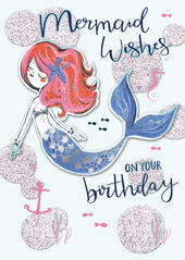 Mermaid Wishes On Your Birthday Greeting Card
