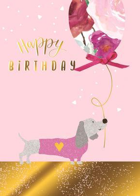 Sausage Dog & Balloon Birthday Greeting Card