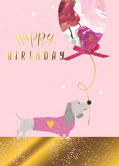 Sausage Dog & Balloon Birthday Greeting Card