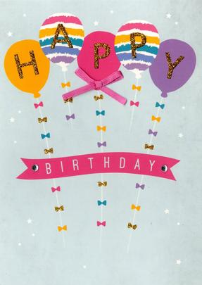 Colourful Balloons Happy Birthday Greeting Card