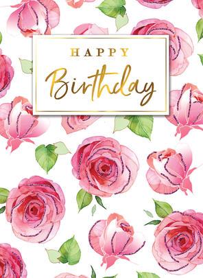Beautiful Roses Happy Birthday Greeting Card