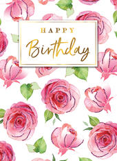 Beautiful Roses Happy Birthday Greeting Card