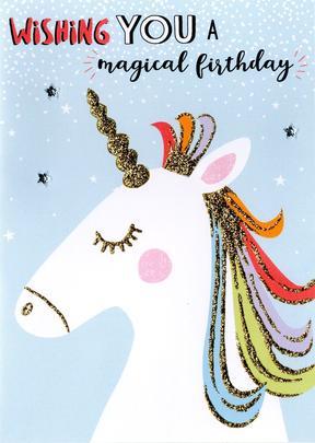 Unicorn Wishing Magical Birthday Greeting Card