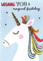Unicorn Wishing Magical Birthday Greeting Card
