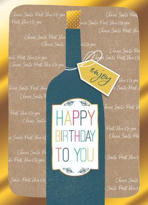 Wine Bottle Happy Birthday Greeting Card