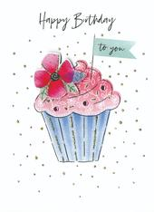 Yummy Cupcake Happy Birthday Greeting Card