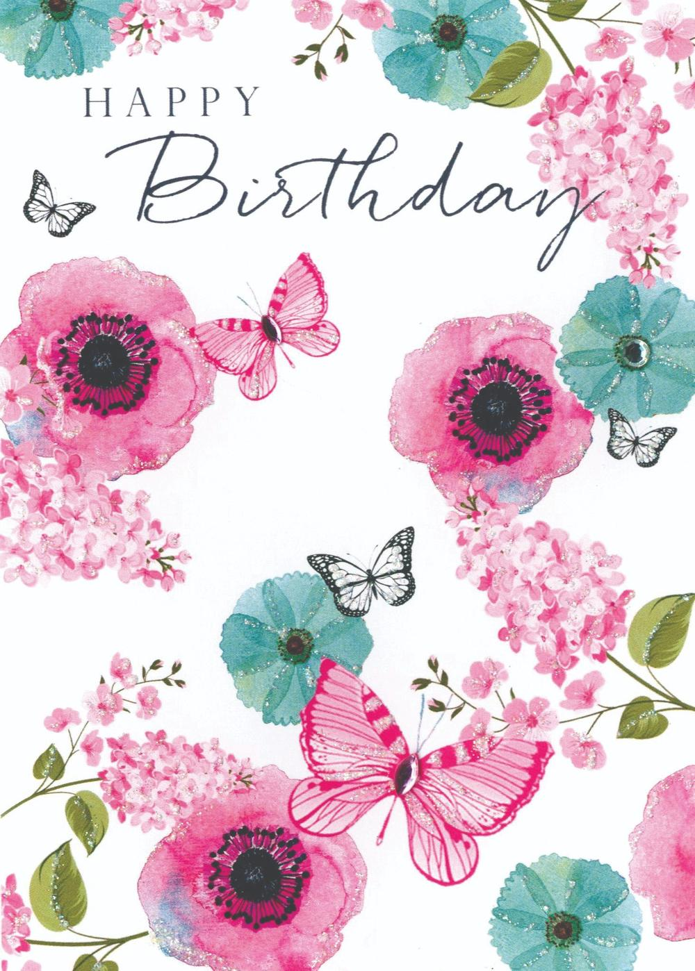 flowers  butterflies birthday greeting card  cards