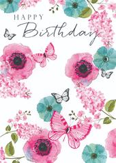 Flowers & Butterflies Birthday Greeting Card