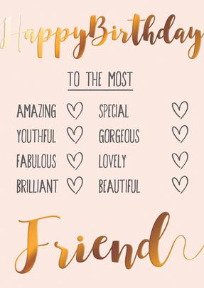 To The Most Friend Happy Birthday Greeting Card
