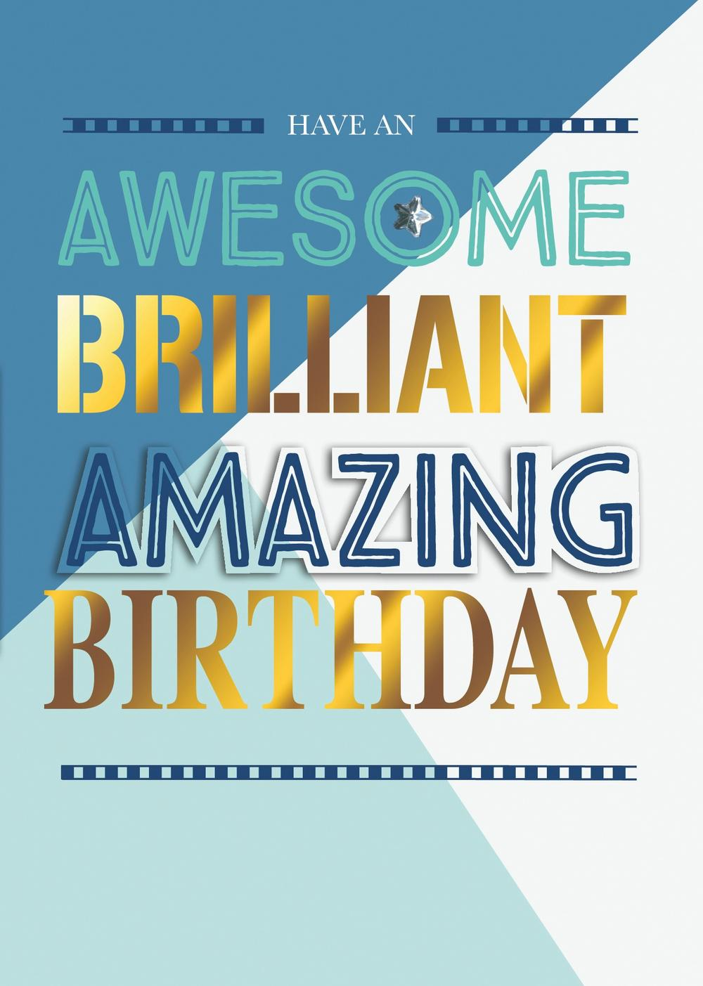 awesome brilliant amazing birthday greeting card  cards