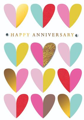 Colourful Hearts Happy Anniversary Greeting Card