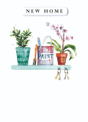 Paint & Plants New Home Greeting Card