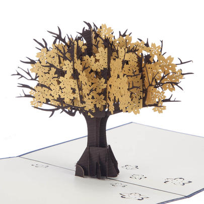 Golden Tree Pop-Up Anniversary Greeting Card Blank Inside