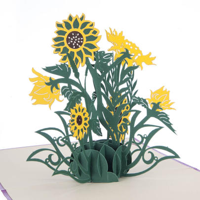 Sunflowers Pop-Up Any Occasion Greeting Card Blank Inside