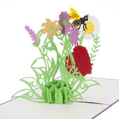 Wild Flowers Pop-Up Any Occasion Greeting Card Blank Inside