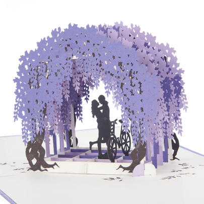 Wisteria Love Pop-Up Any Occasion Greeting Card Blank Inside