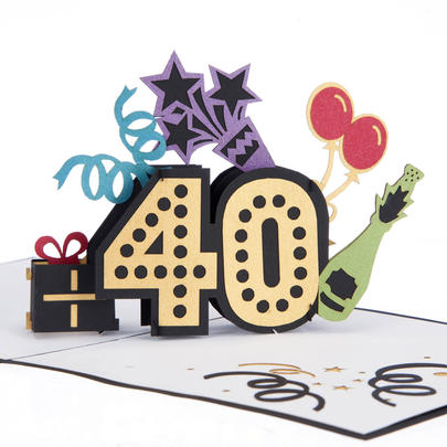 F Word Inside 40th Pop-Up Birthday Greeting Card Blank Inside