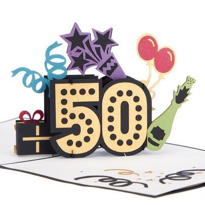 Fab At 50 Pop-Up Birthday Greeting Card Blank Inside