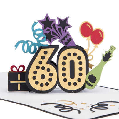 Super At 60 Pop-Up Birthday Greeting Card Blank Inside