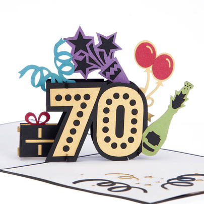 Sensational At 70 Pop-Up Birthday Greeting Card Blank Inside