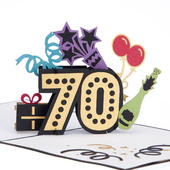 Sensational At 70 Pop-Up Birthday Greeting Card Blank Inside