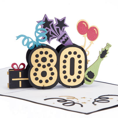 Outstanding At 80 Pop-Up Birthday Greeting Card Blank Inside