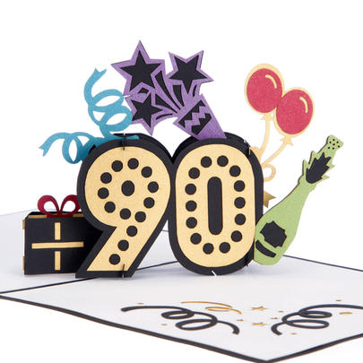 Noteworthy At 90 Pop-Up Birthday Greeting Card Blank Inside