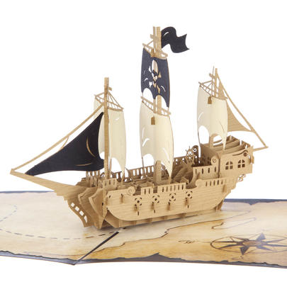 Pirate Ship Pop-Up Any Occasion Greeting Card Blank Inside