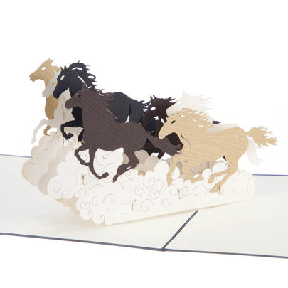 Wild Horses Pop-Up Any Occasion Greeting Card Blank Inside