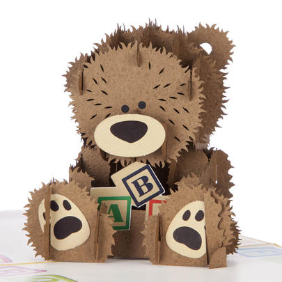 New Baby Bear Pop-Up New Baby Greeting Card Blank Inside