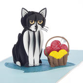 Tuxedo Cat Pop-Up Any Occasion Greeting Card Blank Inside