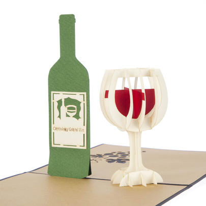 Wine Bottle Pop-Up Any Occasion Greeting Card Blank Inside