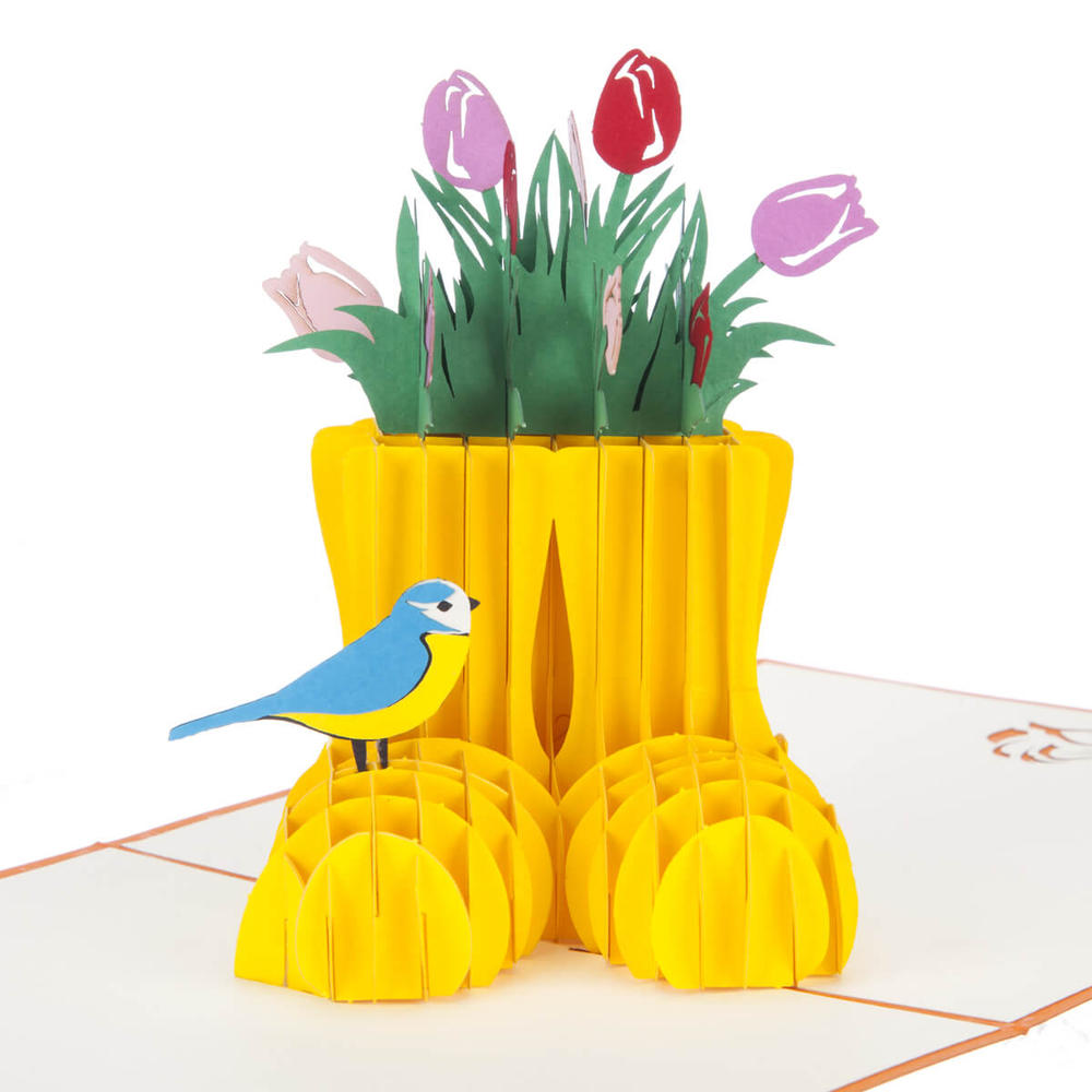 Spring Wellies Pop-Up Any Occasion Greeting Card Blank Inside