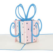 Pink & Blue Gift Box Pop-Up Birthday Greeting Card Blank Inside