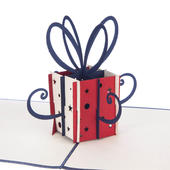 Red & Navy Gift Box Pop-Up Birthday Greeting Card Blank Inside