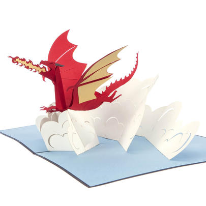 Red Dragon Pop-Up Any Occasion Greeting Card Blank Inside