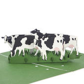 Dairy Cows Pop-Up Any Occasion Greeting Card Blank Inside