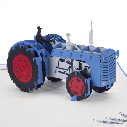 Blue Tractor Pop-Up Any Occasion Greeting Card Blank Inside