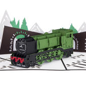 Steam Train Pop-Up Any Occasion Greeting Card Blank Inside