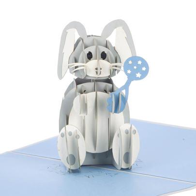 Baby Boy Bunny Pop-Up New Baby Greeting Card Blank Inside