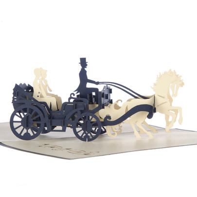 Grooms Carriage Pop-Up Male Wedding Greeting Card Blank Inside