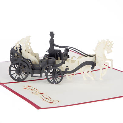 Wedding Carriage Pop-Up Wedding Greeting Card Blank Inside