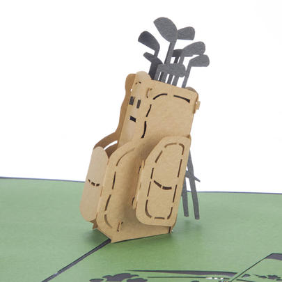 Golf Caddie Pop-Up Any Occasion Greeting Card Blank Inside